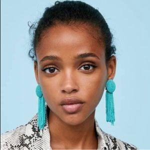 Zara Blue Beaded Tassel Earrings